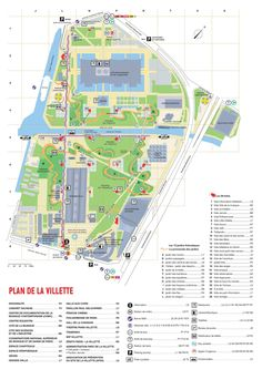 The Parc de la Villette map - Map of The Parc de la Villette (France) Parc La Villette, La Villette Paris, City Layout, Map Layout, Facade Architecture, Landscape Architecture, Washington Dc Attractions, Bernard Tschumi, Landscaping