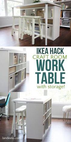 IKEA Hack Craft Room Table - An Easy IKEA Hack For Your Craft Room . Diy Craft Table diy craft room table with ikea furniture Craft Table Ikea, Craft Tables With Storage, Craft Room Desk, Craft Room Tables, Craft Storage Cabinets, Craft Room Storage, Diy Table, Ikea Table, Diy Desk