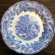 Pottery A Lovely Vintage Alfred Meakin Oval Plate/platter Blue On White,leighton Pattern