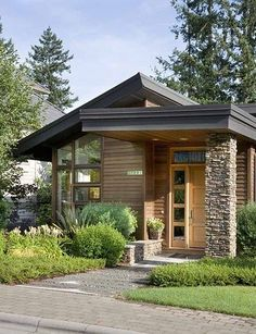 small modern house plans flat roof_3- the single shingles column gives a change to the overall look