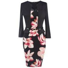 8d497dcd6d 2016 New Autumn Dress Women Office Lady Fashion OL Fake Two Pieces Flower  Printing Temperament Slim Bodycon Dress Plus Size
