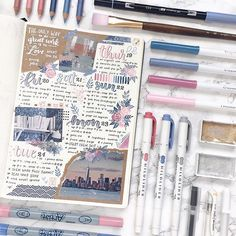 Get the perfect messy scrapbook look in your bullet journal. If you have been drooling over travel journals then you need to see this! Bullet Journal Hacks, Bullet Journal Notebook, Bullet Journal Themes, Bullet Journal Spread, Bullet Journal Inspiration, Journal Ideas, Bullet Journals, Scrapbooking Stickers, Scrapbook