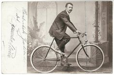 Man on Steyr Waffenrad    Postcard from Vienna, sent 1910, bicycle is from 1900 or even older