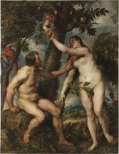 Adán y Eva, expuesto en el museo del Prado. Representa a Adán y Eva cogiendo la fruta del árbol prohibido.