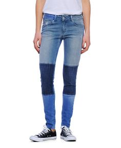 Sold Colorblock Patch Skinny Jeans