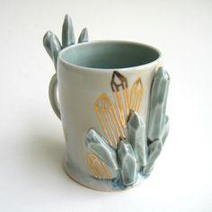 "82 Likes, 9 Comments - Katie Marks (@anotherseattleartist) on Instagram: ""Growing crystal mug!  #ceramics #pottery #porcelain #artist #crystal #gem #sculpture"""