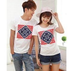 Summer Women Men Lovers Tees Cotton Print T Shirts White Couples T Shirts Unisex Tees Matching Couple Outfits, Matching Couples, Best Online Clothing Stores, White Couple, Couple Tees, Amazing Women, Cute Outfits, Lovers, Unisex