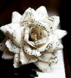 """** site does not work** idea for oragami flower made of music notes for julie or mom's piano studio- I'm sure I could find another pattern for origami. Would be beautiful in a vase with a few """"musical roses""""! Music Notes, My Music, Piano Music, Rose Music, Piano Keys, Music Life, Music Stuff, Music Heart, Sheet Music Crafts"""