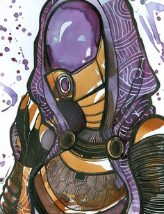 Mass Effect Tali fan art created with tea and ink.