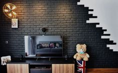 30 blossom residences industrial style living room by eightytwo pte ltd industrial Decor, Simple Living Room Decor, Brick Wallpaper, Brick Pattern Wallpaper, Black Brick Wall, Indian Home Design, Condominium Interior Design, Industrial Style Living Room, Diy Interior