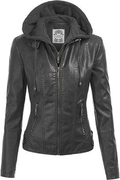 e9f43e9185d6 Made By Johnny MBJ Womens Faux Leather Motorcycle Jacket with Hoodie at  Amazon Women's Coats Shop