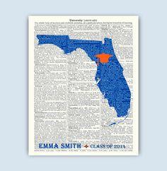 Florida University, Personalized Graduation Gift, Florida Art, Florida Map, Gainsville Graduation Cap, Florida University Graduation Gift by DicosLand on Etsy