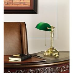 I love these: Green Glass Shade Bankers Lamp