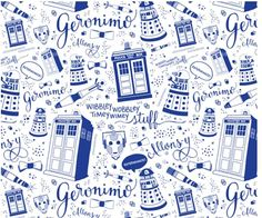 Doctor Who Full-Size Blue fabric by cherilyncolbert on Spoonflower - custom fabric Más Doctor Who Wallpaper, Visual Thinking, Non Plus Ultra, Tv Doctors, Don't Blink, Geronimo, Bad Wolf, Superwholock, Tardis