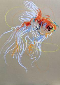 Animalines - Goldfish • original lines drawing by Tilen Ti