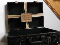 Leather Suitcase Vintage Inspired Wedding Card Holder / Card Box. $60.00, via Etsy.