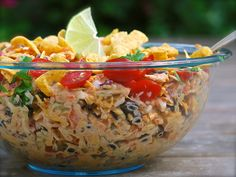 crunchy taco coleslaw - everyone loved it!!  cabbage, green onion, cilantro, tomatoes from farm