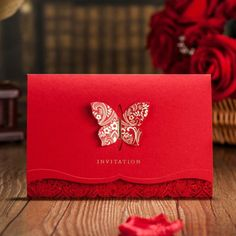 Chinese Red Wedding Invitation with Butterfly CW504