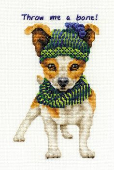 Jack Russell Throw Me A Bone Cross Stitch Kit - £18.20 on Past Impressions | DMC