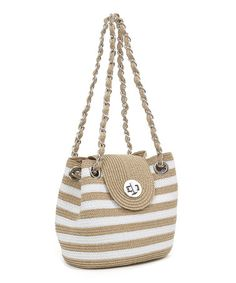 Boasting bold stripes and a boho woven-straw design, this compact bag artfully combines form and function. Crochet Wallet, Crochet Tote, Crochet Handbags, Crochet Purses, Bead Crochet, Striped Shoulder Bags, Striped Bags, Tapestry Crochet, Knitted Bags