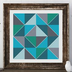Olivia Block Barn Quilt Pink Grey Cross Stitch Pattern. Bring your barn quilt inside! Traditional minimalist design. This cross stitch is made with vivid colors of blue.*. Reminds me of the ocean. I can change these colors easily to match your decor. I would also be happy to design you