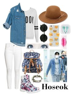"""""""Airport Fashion; Hoseok"""" by got7-bangtan-style ❤ liked on Polyvore featuring H&M, ONLY, Sans Souci, Timberland, RHYTHM, Ankit, FC Select Vegan Bags and Lizzy James"""