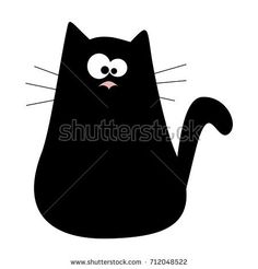 Cute cartoon black cat logo. Kids illustration with domestic animal. Lovely pet. Hand drawn illustration perfect for gift cards, post cards, greeting cards, t-shirts and other designs.