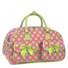 Alpha Kappa Alpha Lg. Polka Dot Overnight Bag - Pink w/ Green Dots.