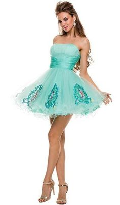 Short, A-line, Princess Shape, Tulle Skirt With Emroidery Prom Dress. Perfect for Homecoming or Special Occasion Party. Turquoise Homecoming Dresses, Pretty Homecoming Dresses, Strapless Homecoming Dresses, Formal Bridesmaids Dresses, Turquoise Dress, Strapless Dress Formal, Blue Dresses, Short Dresses, Formal Dresses