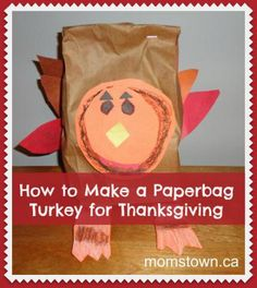 Got a paper bag and some construction paper? You can make a fun and easy Thanksgiving turkey craft with your kids this holiday! Turkey Paper Bag, Pinecone Turkey, How To Make Turkey, Turkey Craft, Autumn Art, Construction Paper, Thanksgiving Crafts, Paper Shopping Bag, Holidays