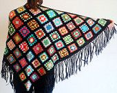 Crochet Shawl - Wool Knitted Wrap - Granny Square Colorful Shawl