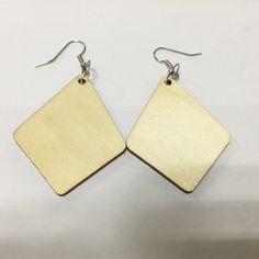 One Pair Only 4*5cm Geometric Unfinished Wood  Earrings For Woman Diy Handmade