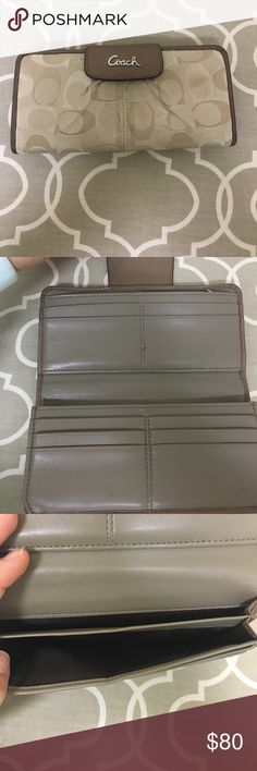 Coach Wallet Gently used, still has a lot of life to it. Will spot clean the light marks it has before shipping other than that clean wallet no rips or stains. Smoke and pet free home. Brown with a shimmer to it. Coach Accessories