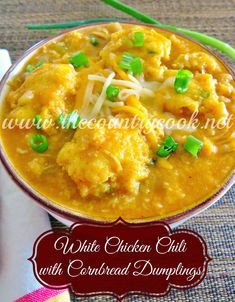 The Country Cook: White Chicken Chili with Cornbread Dumplings-Warm and comforting on chilly days and those dumplings are to die-for-good. Chili Recipes, Soup Recipes, Great Recipes, Chicken Recipes, Dinner Recipes, Cooking Recipes, Favorite Recipes, Cooking Chili, Cooking Rice