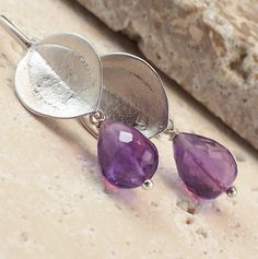 Amethyst Earrings Sterling Silver February Birthstone by ZionShore