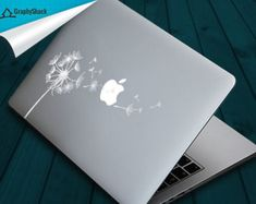 White Dandelion Macbook Decal Mac Decal Sticker Decals Stickers Water Resistant Girl Decal Girly Gift For Her