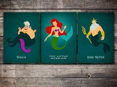 The+Little+Mermaid+vintage+poster+set