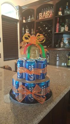 Manly cake for any man on father's day, birthday or any other special occasion. Beer of choice topped with your favorite tequila. Used Bud light and Patron Happy Birthday Dog, New Birthday Cake, Birthday Wishes Funny, Summer Birthday, Birthday Love, Boy Birthday Parties, Birthday Celebration, Birthday Ideas, Birthday Cards For Brother