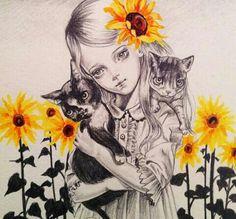Painting & Co - Julie Filipenko Drawing Sketches, Art Drawings, Dark Pictures, Dark Pics, Girl Artist, Inspirational Artwork, Ap Art, Pop Surrealism, Mixed Media Artists