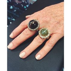 Two of our favorite Victorian pieces! A large banded agate and rose cut diamond ring and a large cat's eye chrysoberyl & mine cut diamond ring. abrandtandson.com #abrandtandson