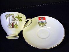 Royal Tuscan England Cup & Saucer (Wedgwood) Bahamas Pirate Ship & Soldier #royaltuscan