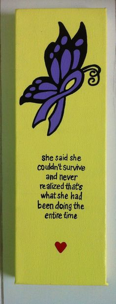 Purple Ribbon, Butterfly, Awareness, Survivor, Canvas, painting, wall art, acrylic