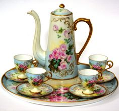 Limoges Pitkin Brooks Antique Hand Painted Roses Chocolate Coffee Set