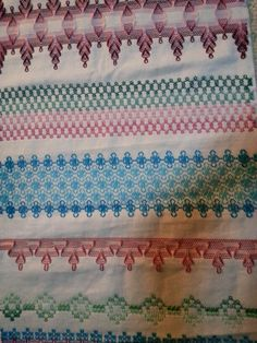 Still more huck weaving Swedish Embroidery, Towel Embroidery, Types Of Embroidery, Cross Stitch Embroidery, Machine Embroidery, Swedish Weaving Patterns, Monks Cloth, Cat Cross Stitches, Bead Loom Patterns