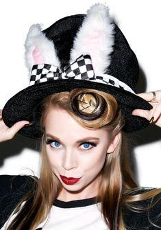 White Rabbit Top Hat GRAV3YARDGIRL BUNNY GRAVEYARD GIRL