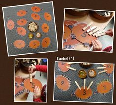 "Pegging 'spikes' to numbered hedgehogs. FREE printable available - from Rachel ("",)"