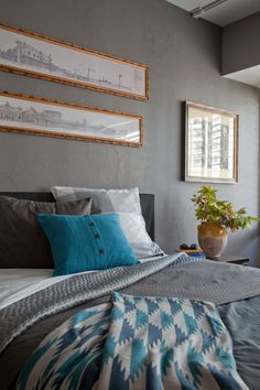 mix + match of west elm bedding via @Apartment Therapy