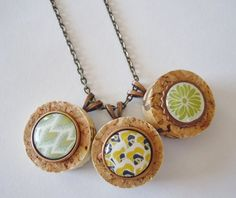 NEW ITEM, Flower Wine Cork Necklace set. Great for Spring! www.paradisedriveshop.com