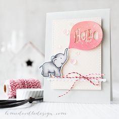 Debby Hughes - Lime Doodle Design http://limedoodledesign.com/2015/03/hello-ellie/ #card #hello #elephant #cute