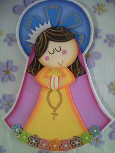 Virgencita Plis Foam Crafts, Diy And Crafts, Towel Embroidery, Religious Paintings, Mary And Jesus, Decorate Notebook, Holy Mary, Ideas Para Fiestas, Bible Crafts
